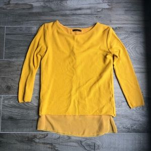 Zara mustard yellow knit open-back sweater